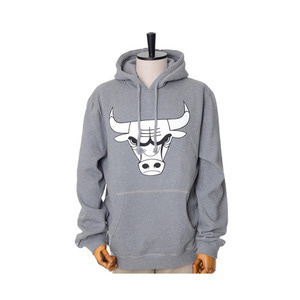 미첼엔네스 NBA 시카고불스 그레이 후드, MitchellandNess CHICAGO BULLS BLACK/WHITE LOGO CREW HOODY - GREY - 풋셀스토어