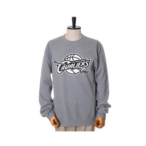미첼엔네스 NBA 클리블랜드 캐벌리어스 맨투맨, MitchellandNess CLEVELAND CAVALIERS BLACK/WHITE LOGO CREW SWEATSHIRTS - GREY HEATHER - 풋셀스토어