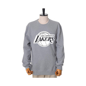 미첼엔네스 NBA LA 레이커스 맨투맨, MitchellandNess LA LAKERS BLACK/WHITE LOGO CREW SWEATSHIRTS - GREY - 풋셀스토어