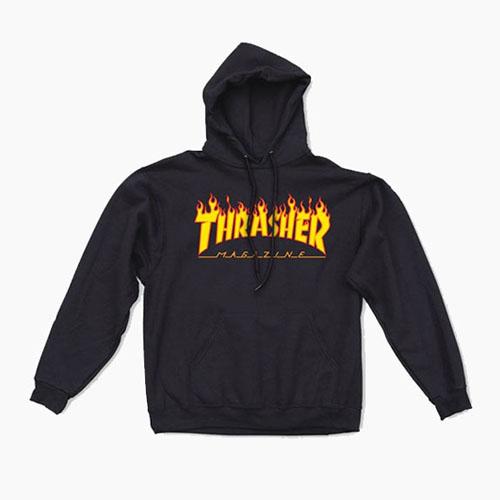 [THRASHER] Flame Hood Black,트래셔 후디, 쓰레셔후드티