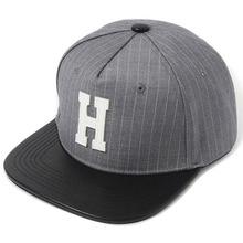 [헤이터] H Leather Patch Stripe Snapback- Gray, 스냅백